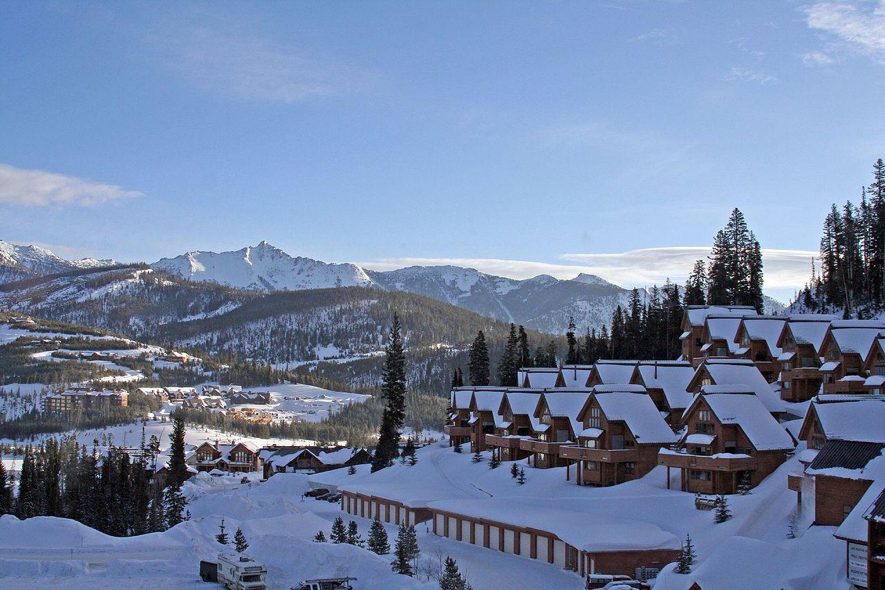Snowcovered town of Big Sky Montana