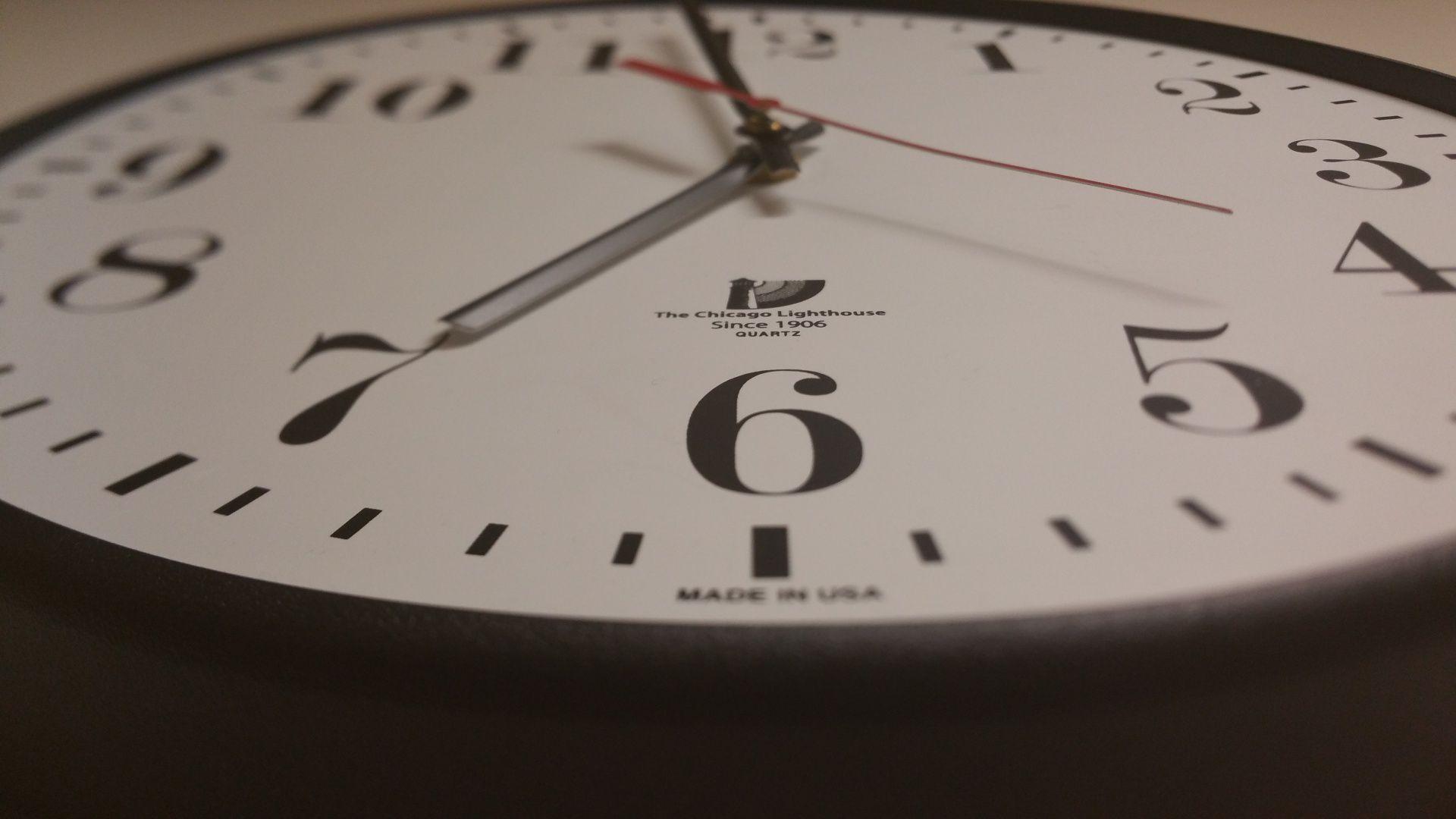 Close up of bottom of clock