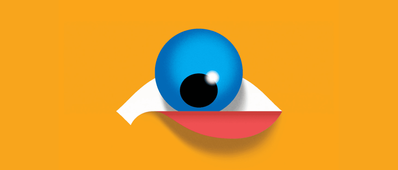 Cartoon representation of blue eyeball coming out of eye