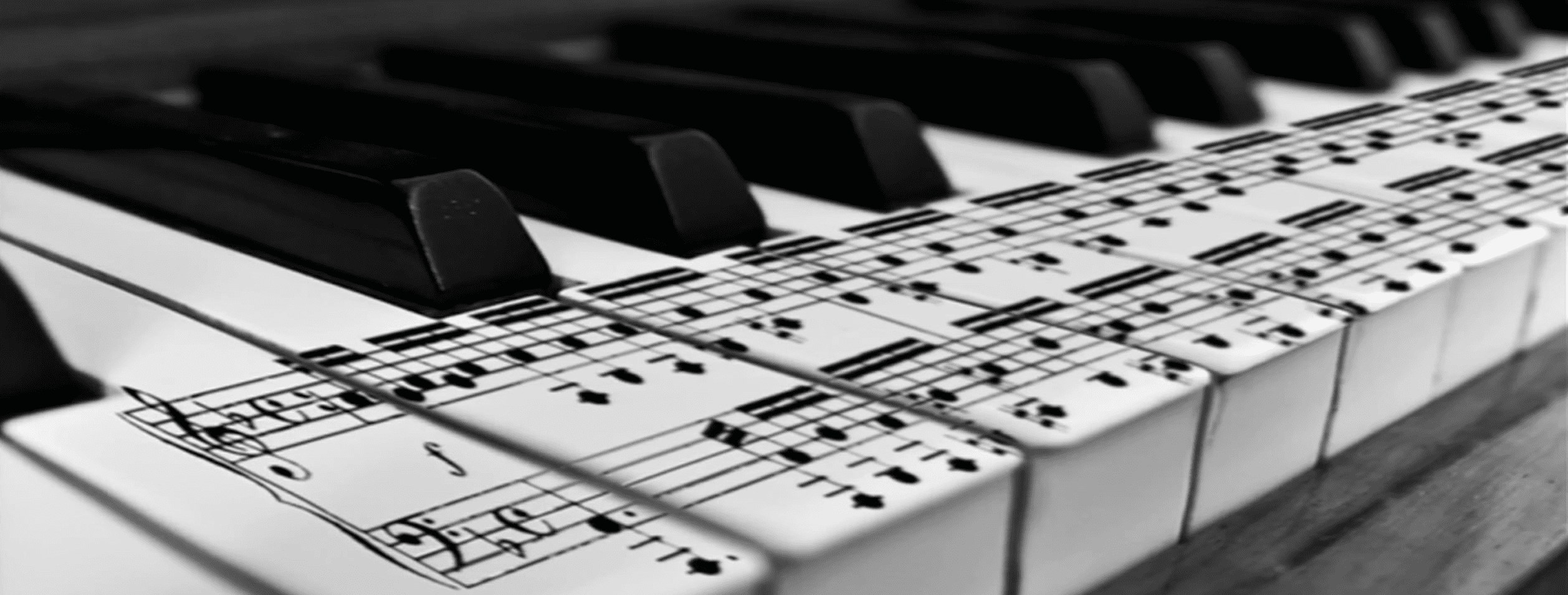 Photo of music printed on piano keys