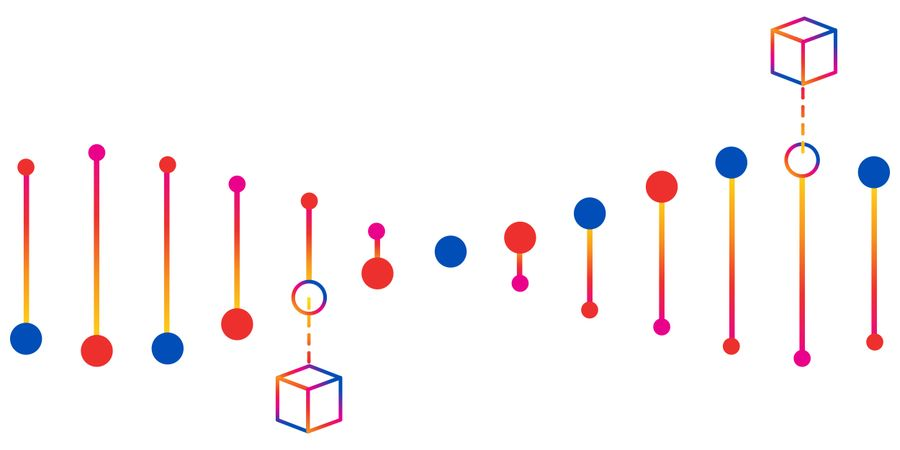 Cartoon representation of DNA with 3D boxes attached