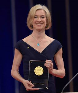 Jennifer Doudna holding her Japan Prize at the formal award ceremony in Tokyo