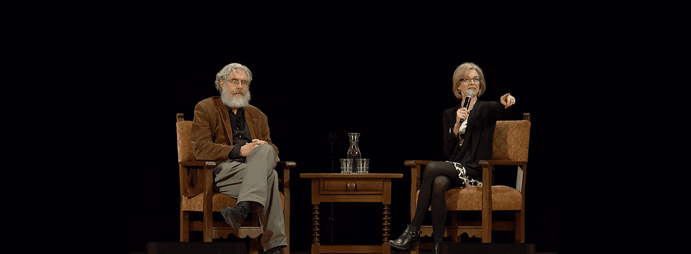 George Church and Jennifer Doudna on stage