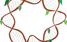 Cartoon showing a circular DNA with brown backbone and green leaves hanging off
