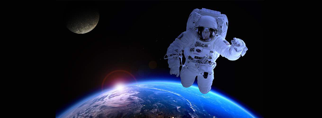 Astronaut Floating in Space Above Earth