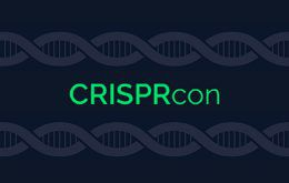 Green CRISPRcon logo bordered by images of DNA