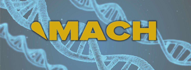 NBC MACH logo over DNA image