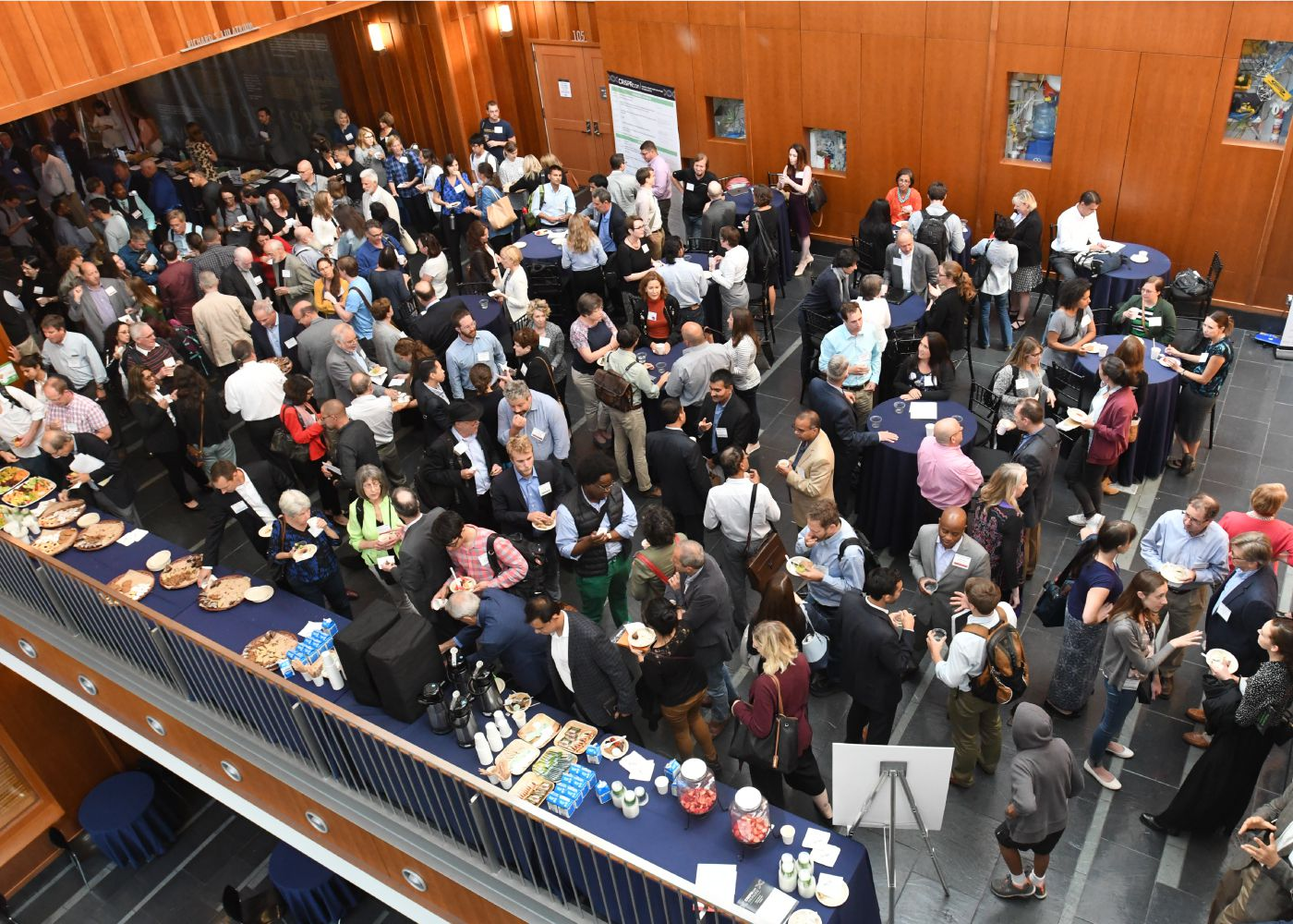 A view from above the Stanley Hall atrium during CRISPRcon