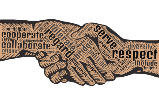 Two hands shaking with respectful words written on each hand