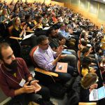 Audience clapping at the rewriting genomes symposium
