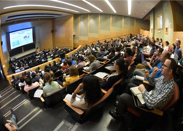 Full auditorium during Jennifer Doudna's talk at the the Rewriting Genomes Symposium
