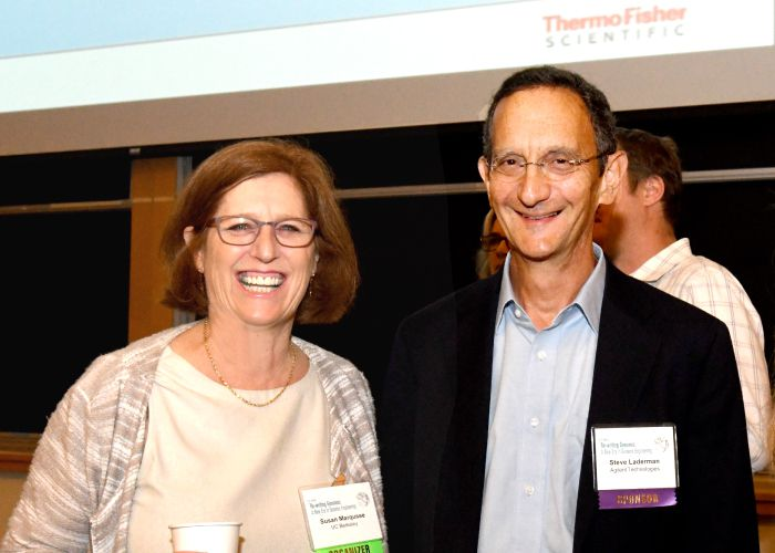 Susan Marqusee and Steve Laderman at the Rewriting Genomes Symposium