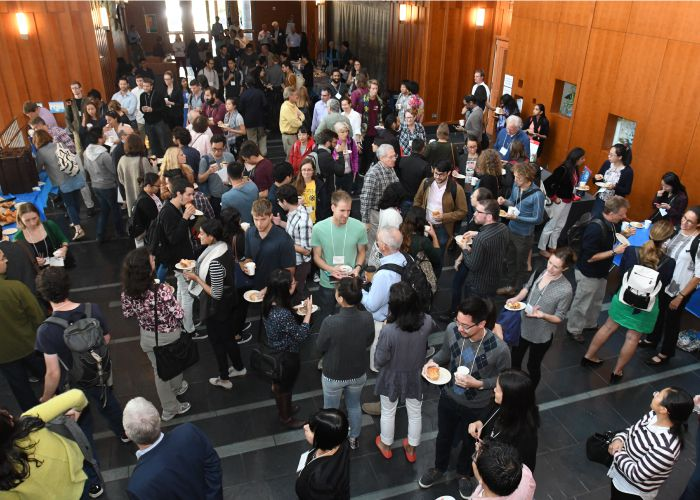 Full Stanley Hall atrium during the Rewriting Genomes Symposium
