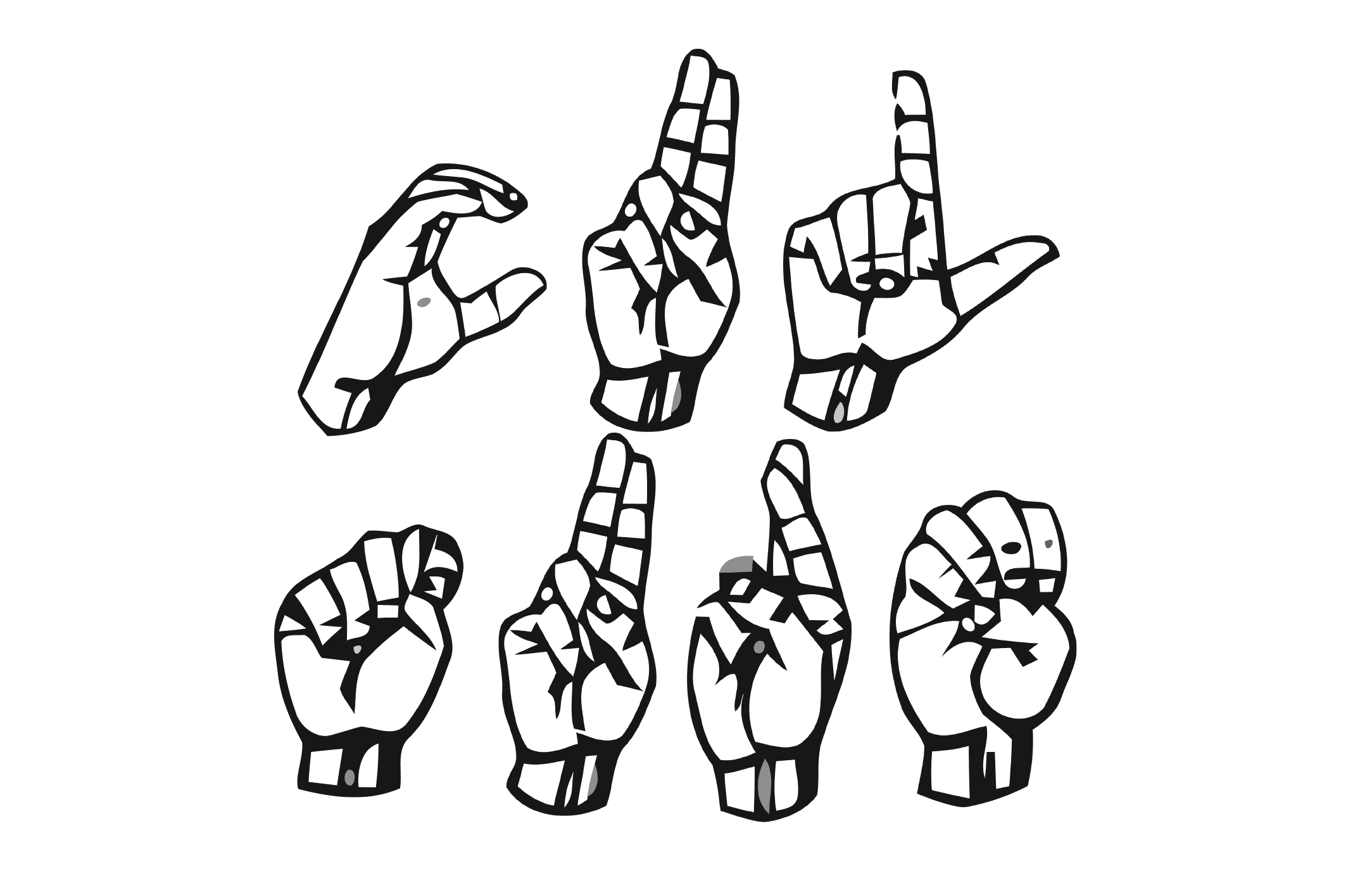 Sign language letters spelling out the word culture