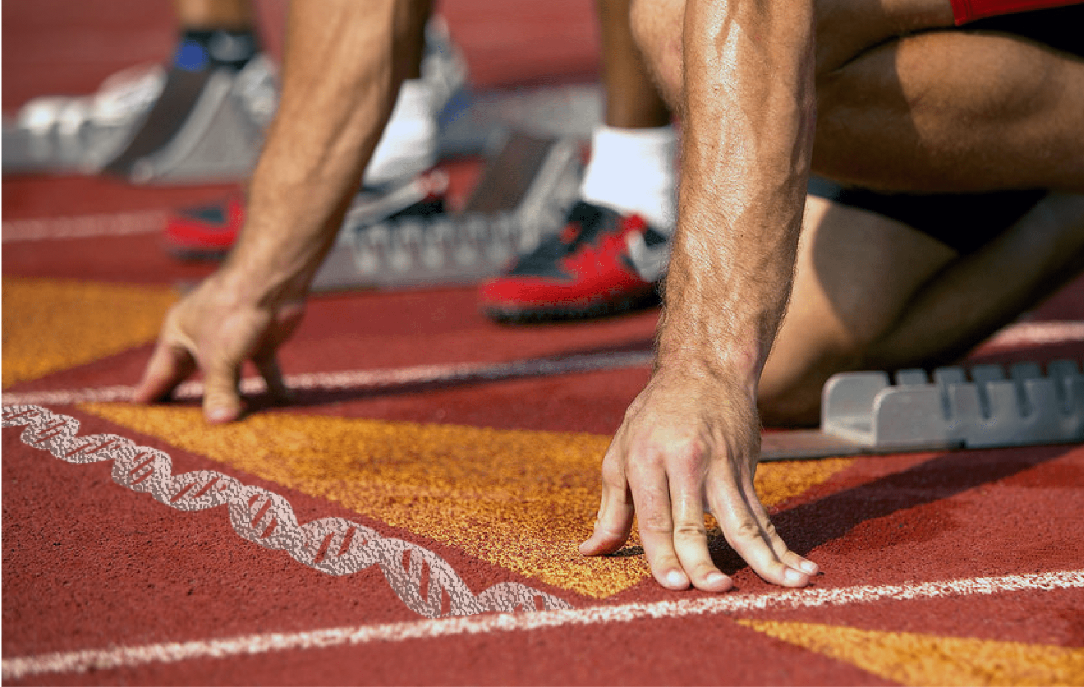 A man positioned at a starting line ready to run a race