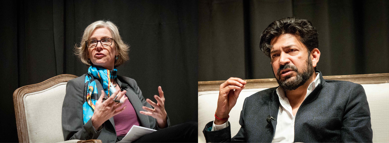 Jennifer Doudna and Siddhartha Mukherjee talking on stage