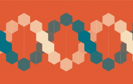 Orange background with a DNA cartoon made of hexagons