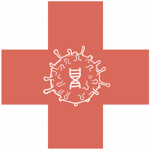 Image of a spherical virus containing a DNA. This virus is in the center of a red cross.