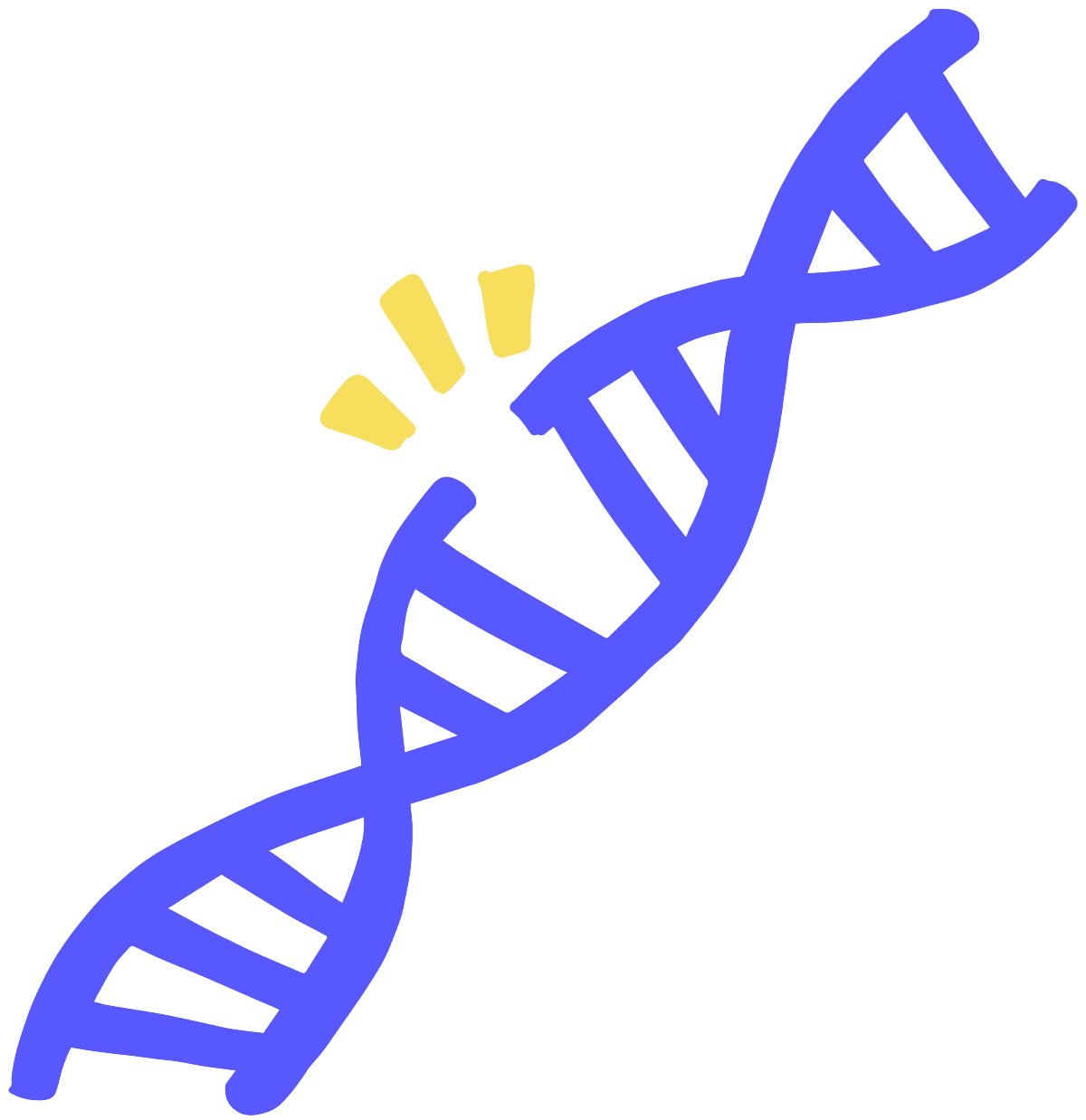 Image of a double stranded nick in a blue DNA