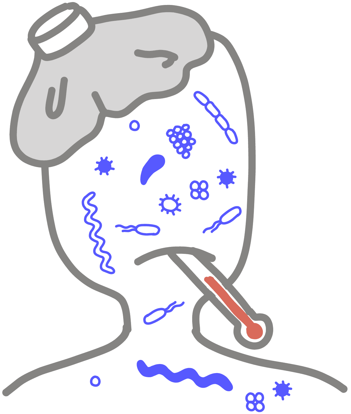 Image of a headshot containing pathogens on its face. The image shows pathogens making a person sick. The person has a thermometer in their mouth and a ice bag on their head.