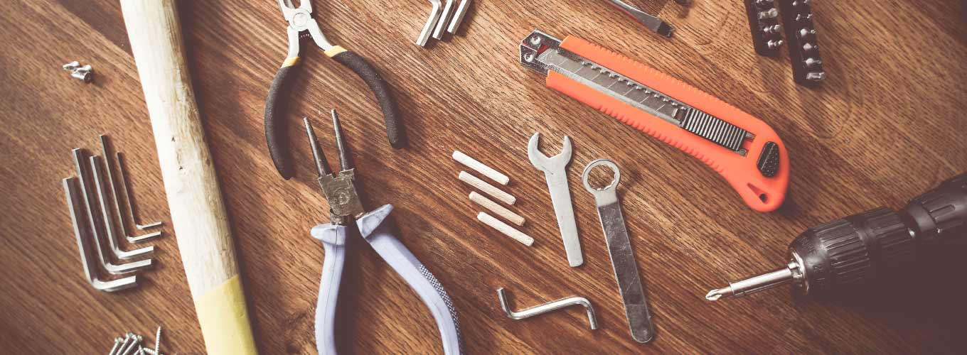 A collection of tools for performing home repairs