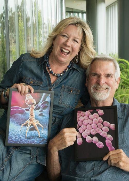 Photo of Steffanie Strathdee and Tom Patterson, phage therapy recipient