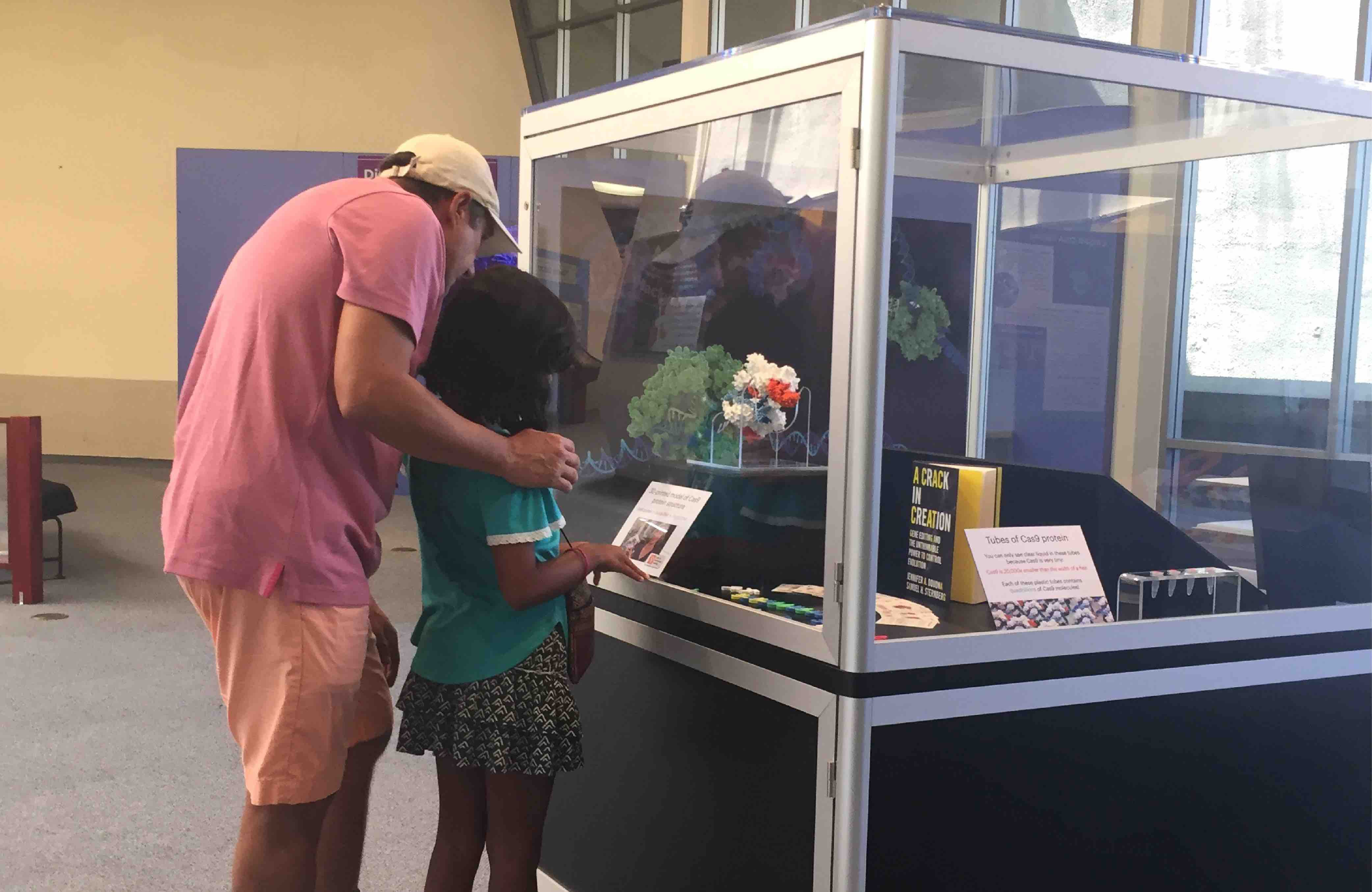 Man and young girl looking a science exhibit at the Lawrence Hall of Science