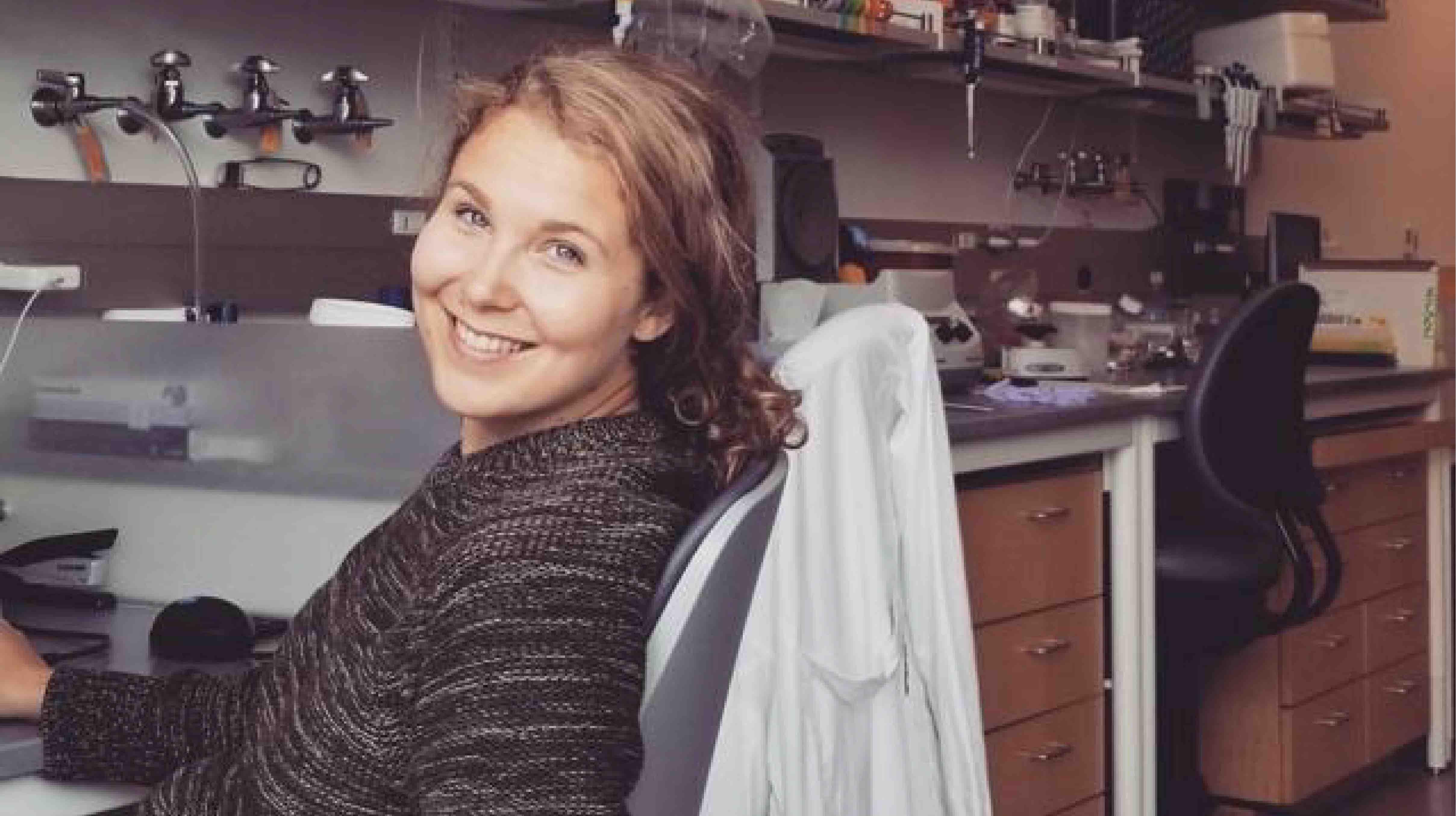 Dana Foss at her desk