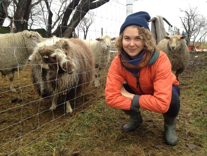 Dana Foss next to a ram