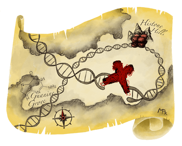 Treasure map with molecular structure on a DNA break