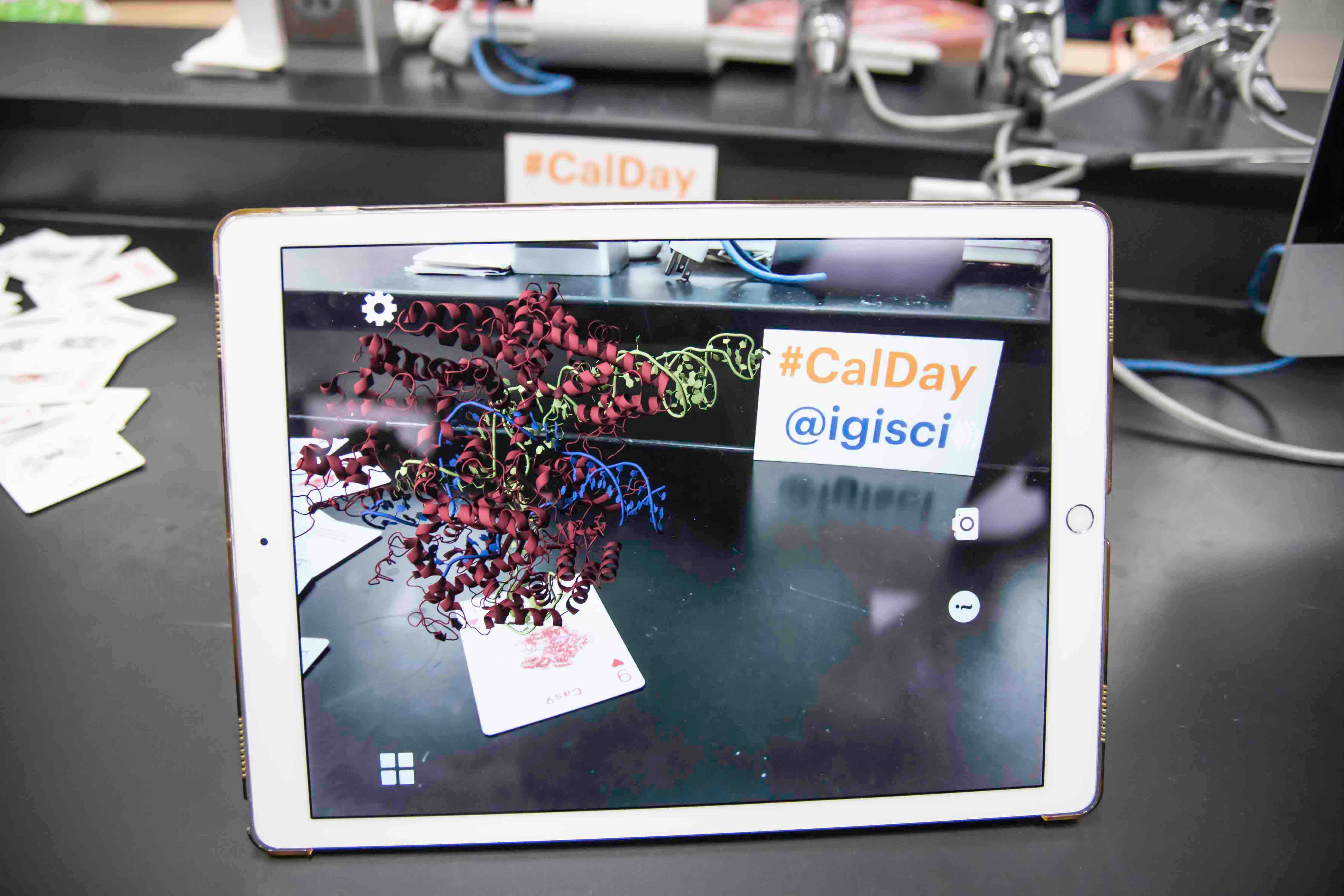 iPad with a protein shown in augmented reality