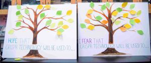 Painted trees with paper leaves