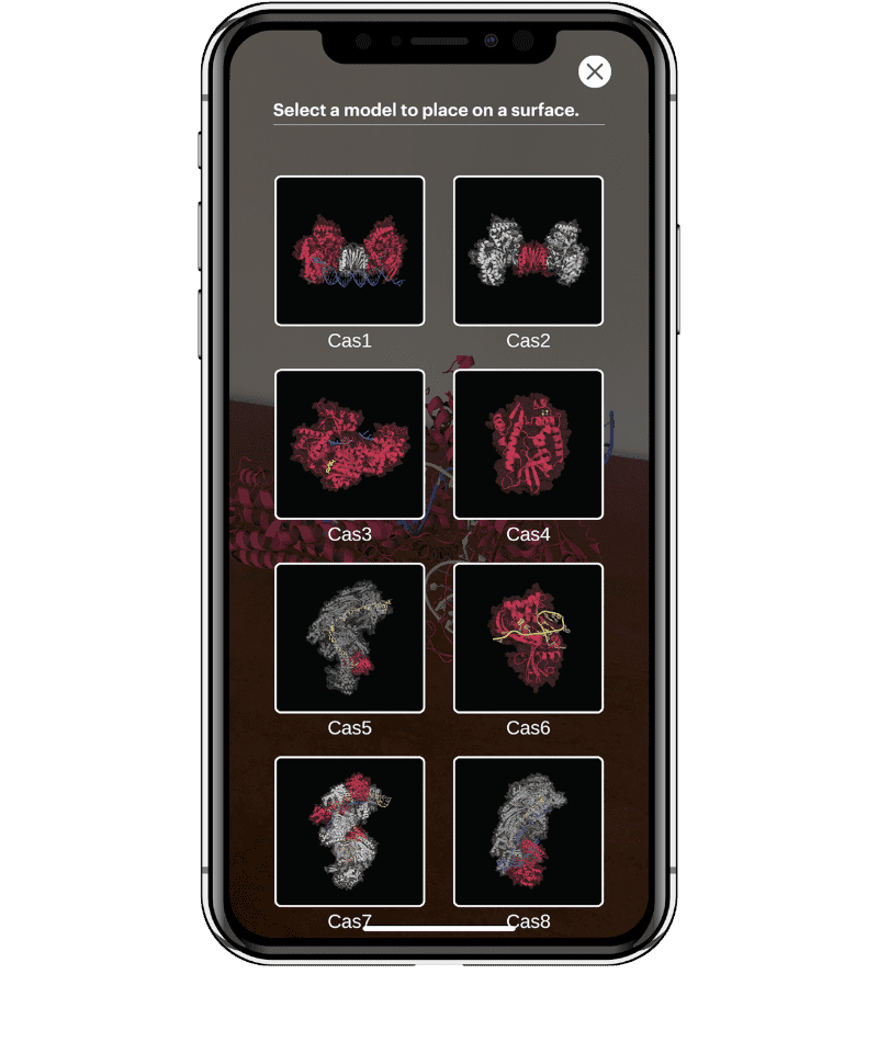 A gallery of CRISPR-Cas proteins shown on a cell phone screen.
