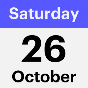 This image displays the date of the event: Saturday, October 26
