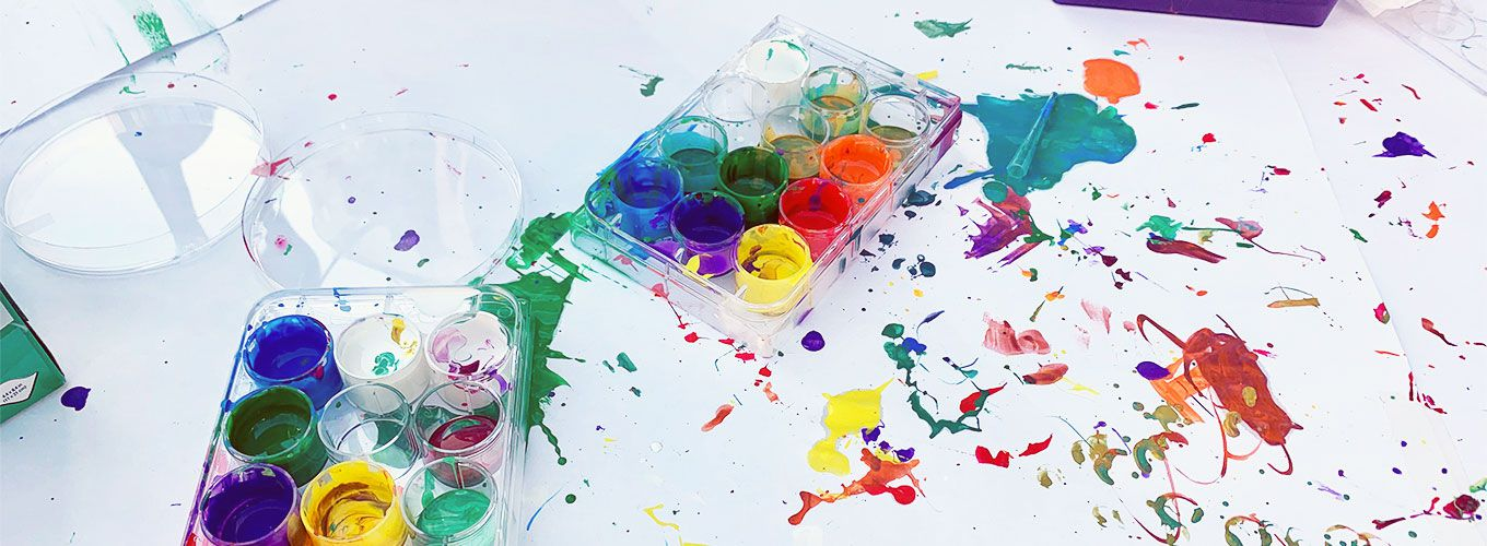 Paint splattered on a table