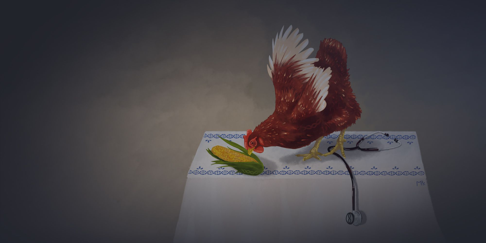 drawing of a chicken pecking at corn