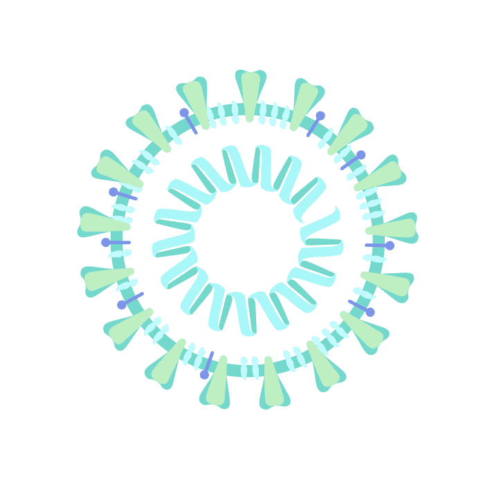 Free COVID-19 illustrations, SARS-CoV-2 virus cool colors