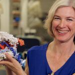 Jennifer Doudna posing with CRISPR model