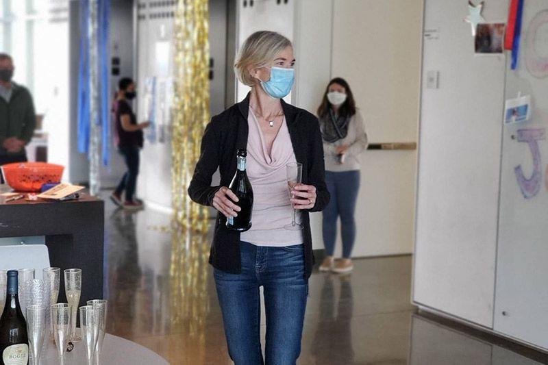 Jennifer Doudna celebrates with champagne at the IGI