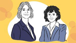Illustration of Jennifer Doudna and Emmanuelle Charpentier