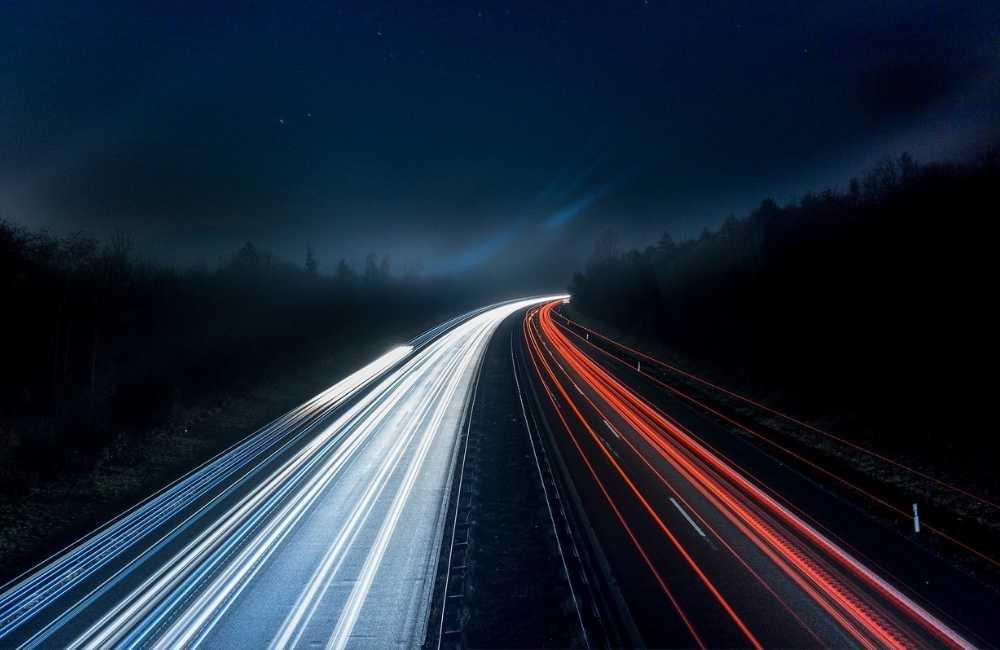 car lights on a highway