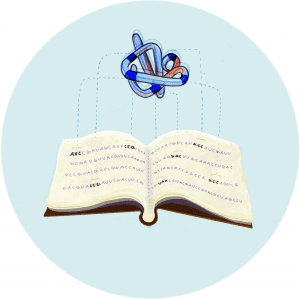 Illustration of a folded peptide above an open book with DNA sequences on the pages
