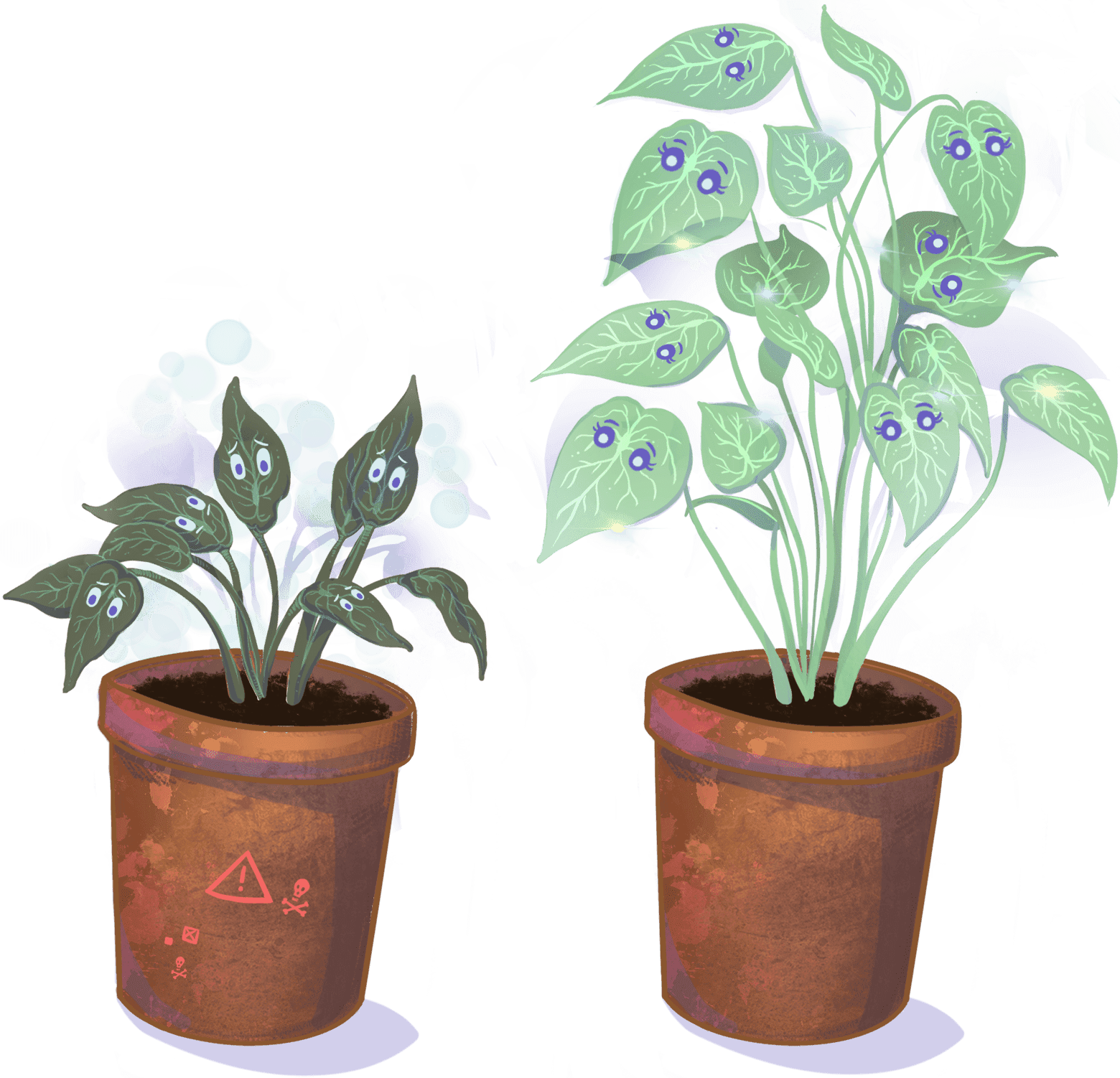 Illustration of wilted and healthy plants side by side
