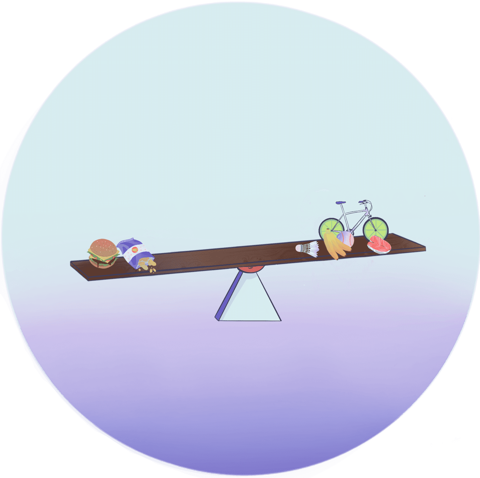Illustration of seesaw. On one side is a bicycle, tennis ball, bananas, and piece of fish. On the other are chips and a hamburger. The side with fast food is tipped down slightly, indicating tipping the balance towards disease