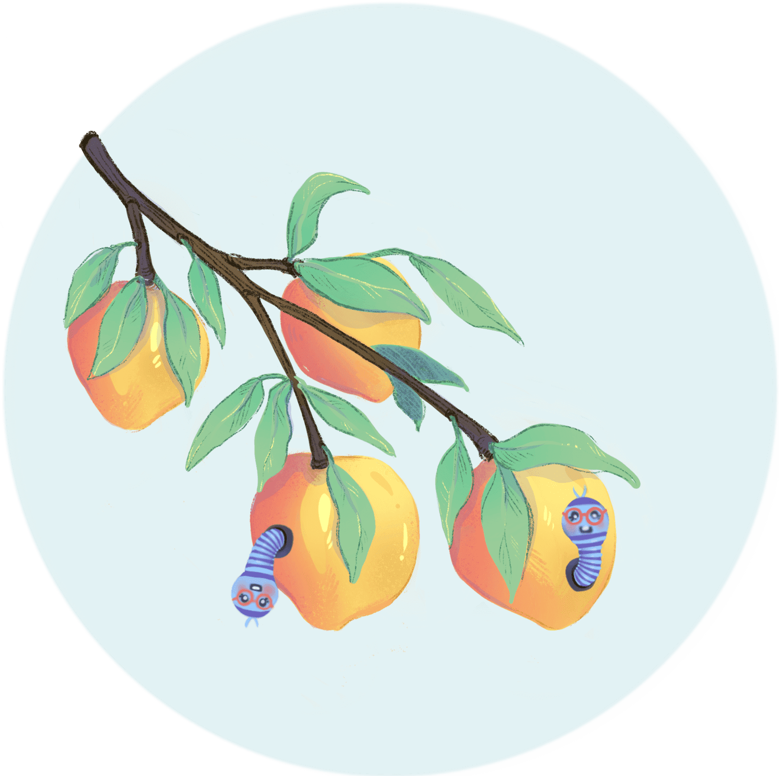 Illustration of worms coming out of peaches