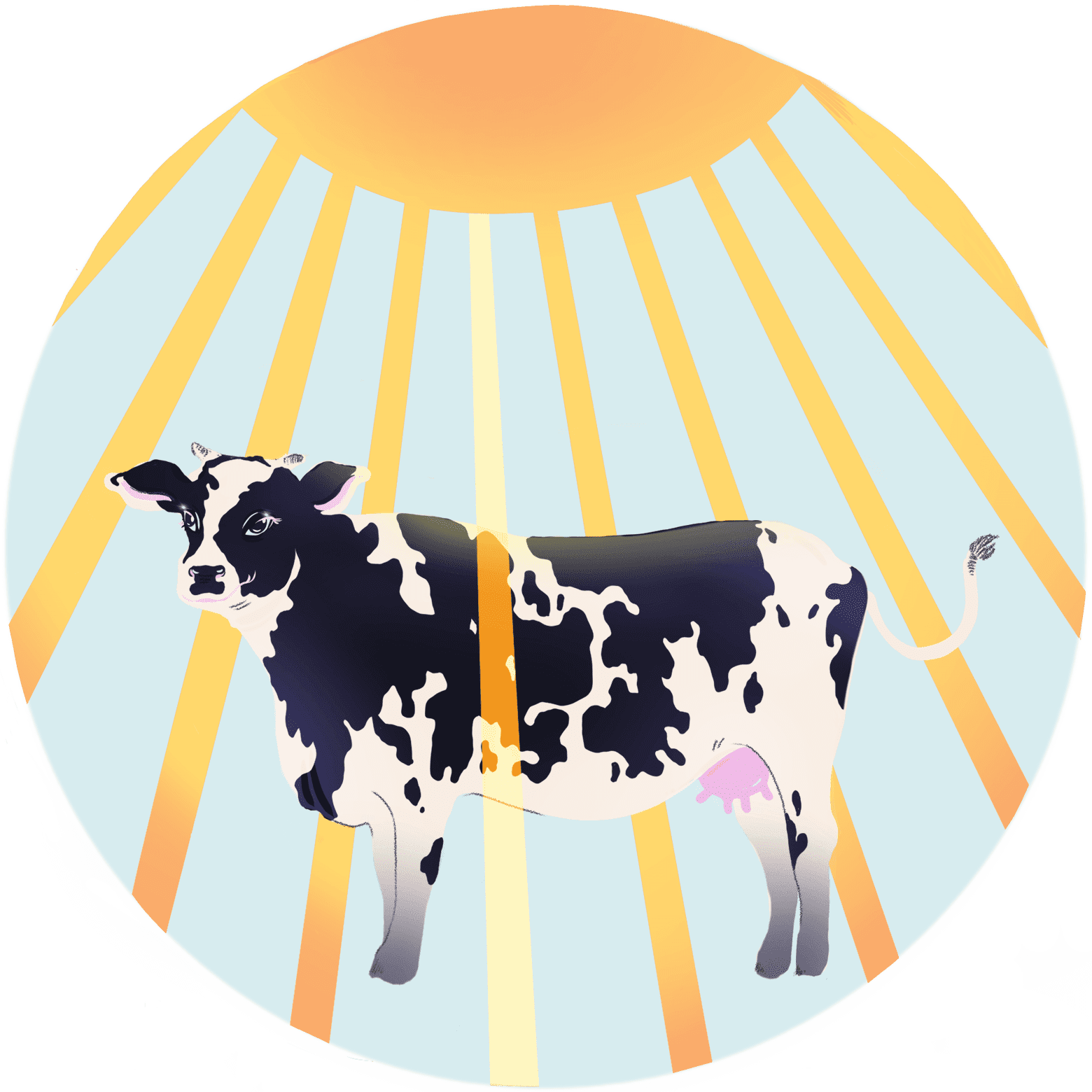 Illustration of a cow with the sun shining down