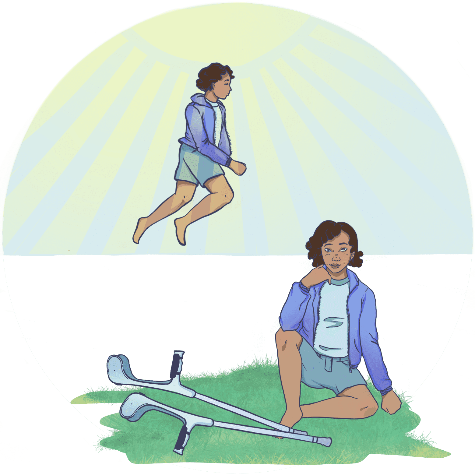 Illustration of a child sitting on the grass with crutches. A panel above their head shows them fantasizing about running