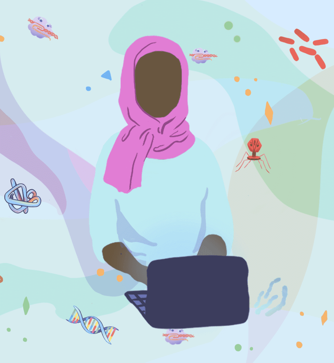 Illustration of a student wearing a headscarf and working on a laptop