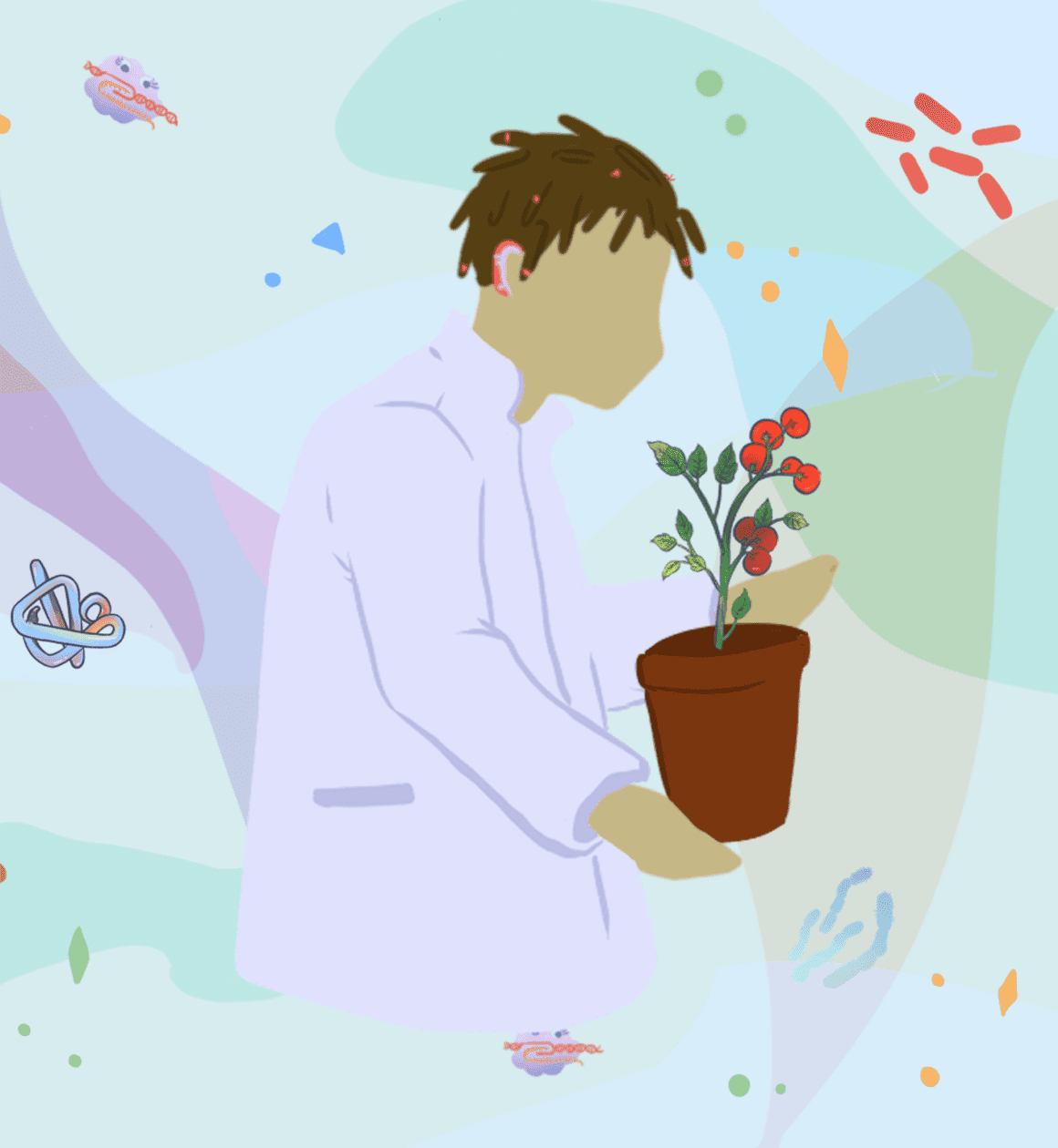 Illustration of a biology student holding a tomato plant