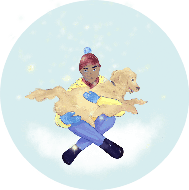 Illustration of a young person sitting with a fluffy dog in their lap in the snow